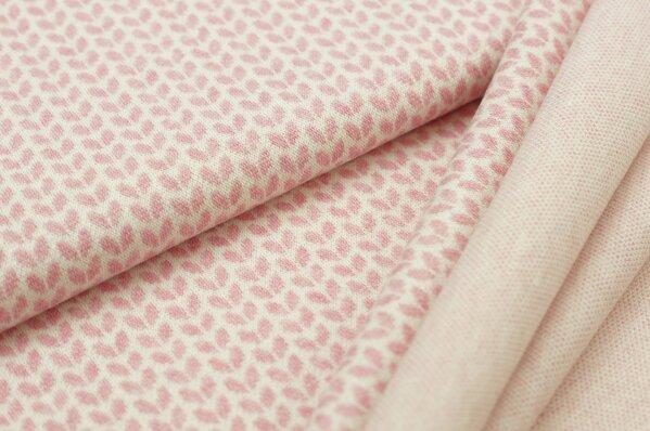 Jacquard-Sweat Mia kleine pastell pink Melange Blätter auf off white