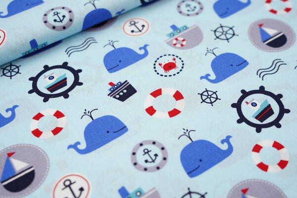 Baumwollstoff Wale Schiffe Steuerrad Krebse auf hellblau maritim