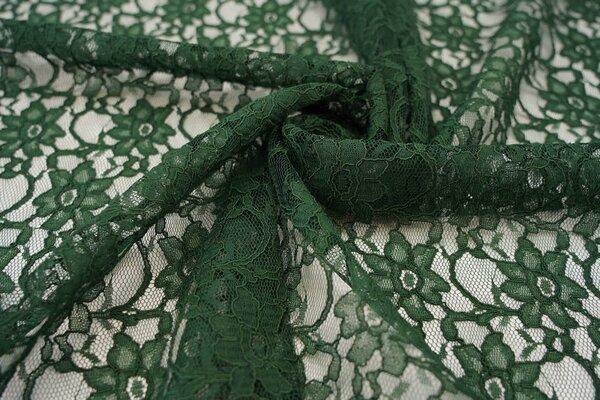 Elastische Spitze mit Blumen-Muster dunkelgrün
