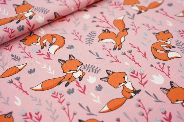 Baumwoll-Jersey Füchse und Blumen auf rosa Fuchs Blätter