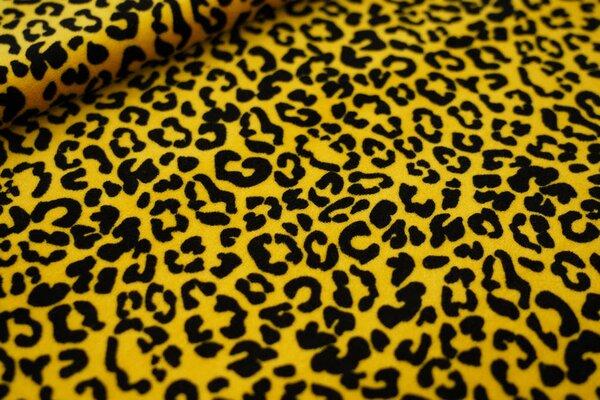 Nicki Velours Stoff kleines Leopardenfell Muster gelb / schwarz