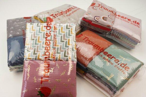 Stoffpaket Musselin Mix 3 m verschiedene Farben / Muster gemischt