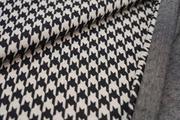 Jacquard-Sweat Ben mit Hahnentritt Muster schwarz und off white