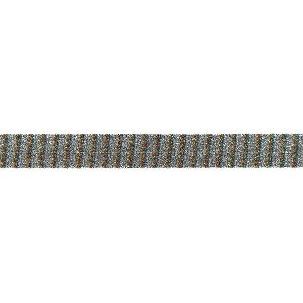 Glitzer Schrägband mit Streifen silber gold rot aqua 20 mm Zierband Glitzerband