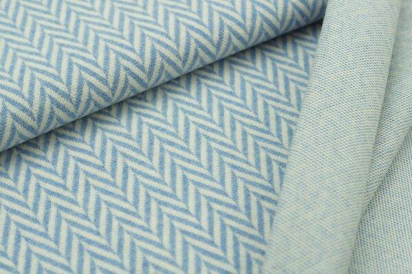 Kuschel Jacquard Moritz XXL Fischgrätmuster pastell jeansblau melange off white