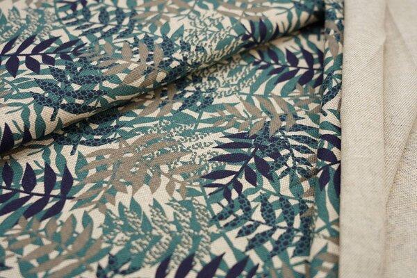 Canvas-Stoff Dekostoff Leinenoptik seegrün dunkelblau graue Blätter auf natur