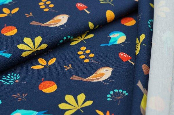 Baumwoll-Jersey Digitaldruck Herbst Vögel Blätter Pilze Eicheln auf dunkelblau