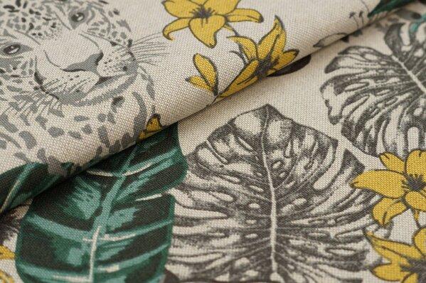 Canvas-Stoff Dekostoff in Leinenoptik Blätter und Leopard natur / grau / grün