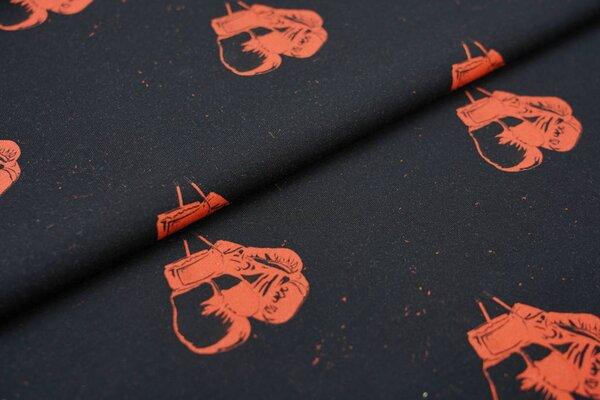 Baumwoll-Jersey Digitaldruck orangerote Boxhandschuhe auf schwarz
