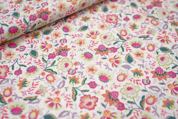 Baumwollstoff bunte Blumen und Blätter weiß / pink / hell lila / orange / gelb