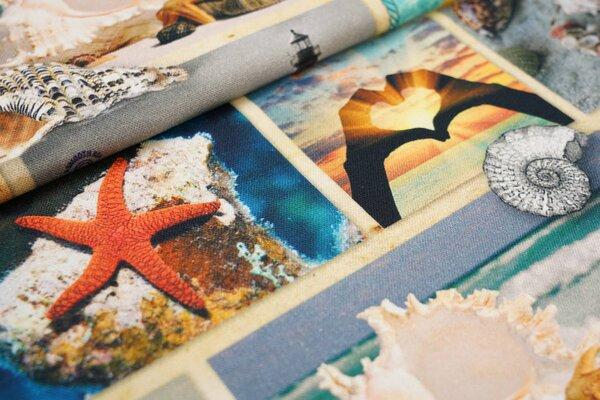 Dekostoff Canvas Digitaldruck Urlaubsmotive Sonne Meer Strand Muscheln Seestern