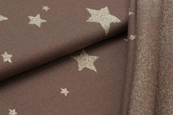 Jacquard-Sweat Ben gold Lurex Glitzer Sterne auf taupe braun