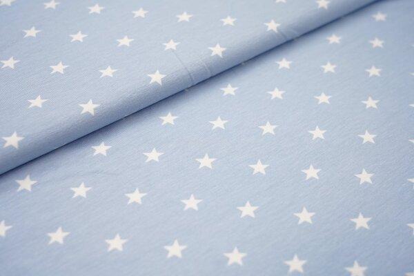 Baumwoll-Jersey weisse Sterne auf hellblau