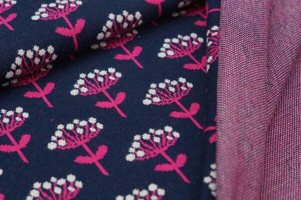 Jacquard-Sweat Ben amarant pink off white Blumen auf navy blau