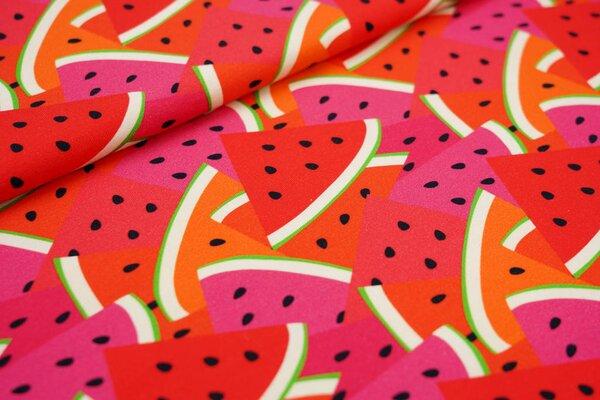 Baumwoll-Jersey Digitaldruck große Wassermelonen rot orange pink