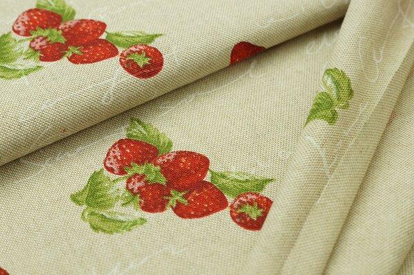 Dekostoff Leinenoptik Erdbeeren Schriftzug natur rot grün weiß
