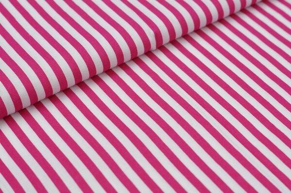 Baumwollstoff Baumwolle Streifen pink / weiß