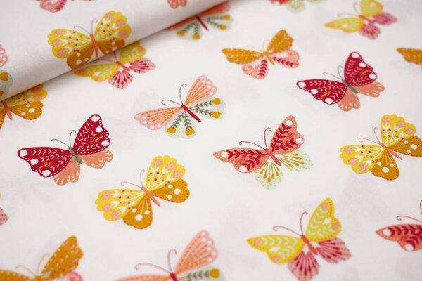 Baumwolle große Schmetterlinge weiß / senf / koralle / mintgrün