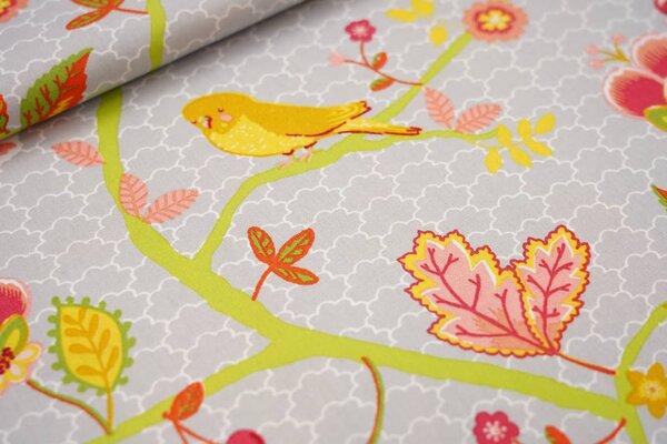 Baumwolle Blumenzweige Wellensittiche Schmetterlinge silbergrau / koralle / gelb