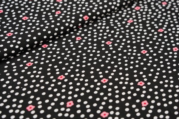 Viskose-Jersey Punkte und Blumen Blüten schwarz / weiß / rosa