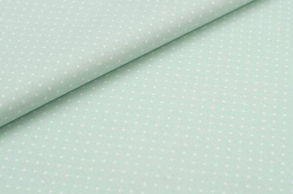 Baumwollstoff Baumwolle mint mit kleinen weißen Punkten