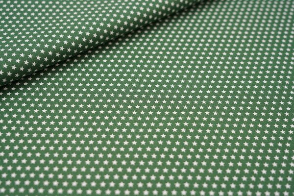 Baumwollstoff Baumwolle dunkelgrün mit kleinen weißen Sternen