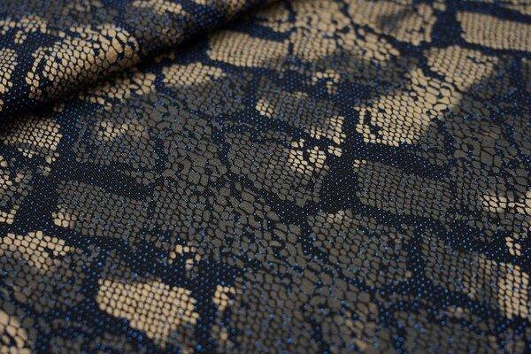 Elastischer Glitzer Jersey Modestoff Schlangenhaut schwarz / gold / blau