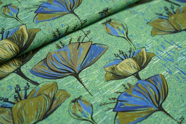Baumwoll-Jerseystoff große Mohnblumen Blüten grün / blau
