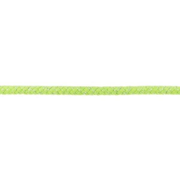 Dicke Glitzer Kordel rund uni limettengrün / silber 10 mm breit
