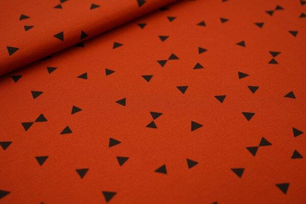 Baumwoll-Jersey schwarze Dreiecke auf rostorange