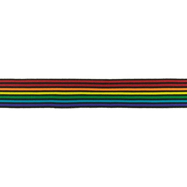 Elastisches Zierband mit Streifen Regenbogen bunt schmal 30 mm
