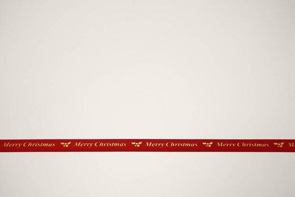 Satinband gold Merry Christmas Mistelzweige Weihnachten auf rot 10 mm Dekoband