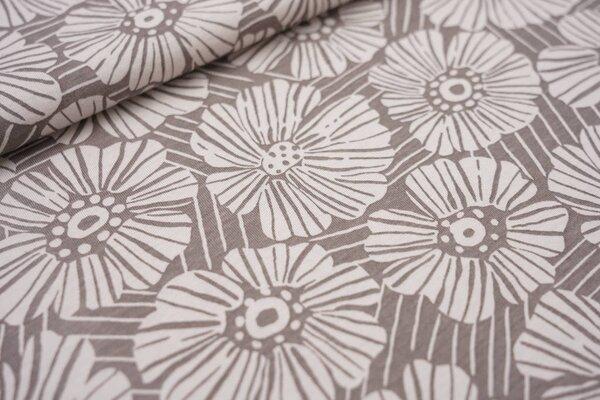 Sommer T-Shirt-Stoff / leichter Jersey große Blumen Blüten Striche braun / beige