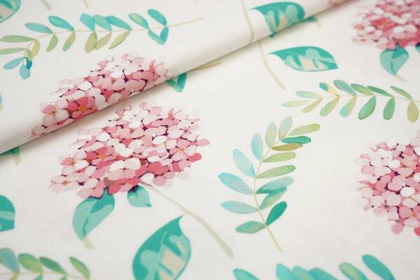 Baumwoll-Jersey Digitaldruck Hortensien und Blätter off white rosa türkis grün