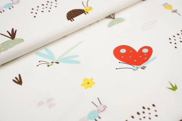 Baumwoll-Jersey Digitaldruck Schmetterling Raupe Käfer Biene auf off white