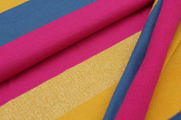 Sweat Marie Blockstreifen mit gold Lurex Glitzer senf taupe blau / amarant pink