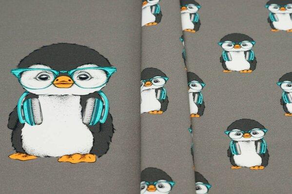 Panel Baumwoll-Jersey Pinguine mit Kopfhörern schlamm braun taupe Digitaldruck