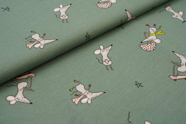 Baumwoll-Jersey Mäuse auf altmint grün Maus mit Skateboard Regenschirm Muffin Herz
