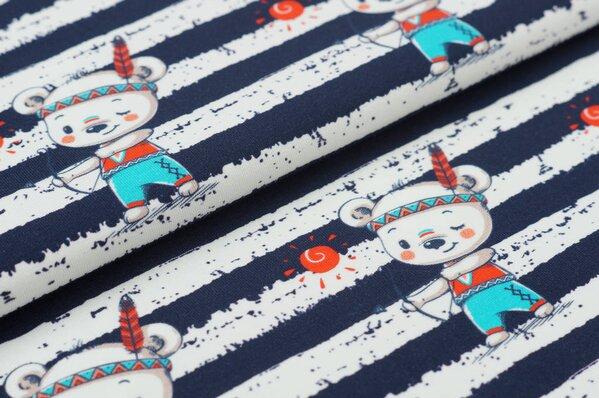 Baumwoll-Jersey Digitaldruck Indianer Teddybär Streifen dunkelblau / off white