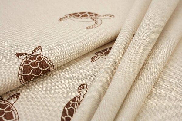 Canvas-Stoff Dekostoff in Leinenoptik Meeresschildkröten natur / braun
