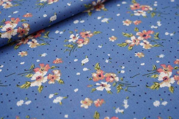Baumwollstoff Blumen und Punkte auf taupe blau