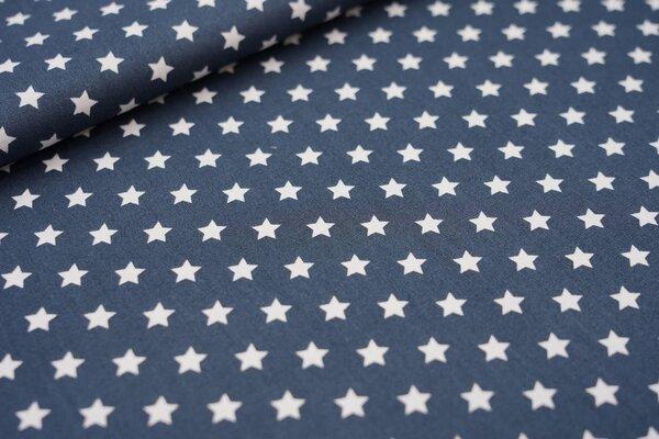 Baumwollstoff Baumwolle kleine Sterne anthrazit dunkelgrau / weiß