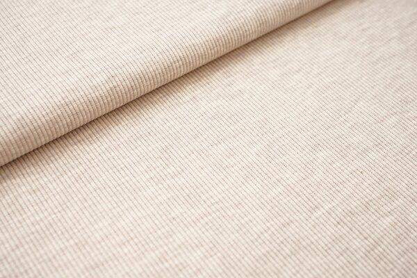 Baumwoll-Rip-Jersey einfarbig uni hellbeige meliert