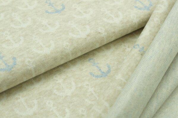 Jacquard-Sweat Mia off white und jeansblaue Anker auf pastell beige Melange