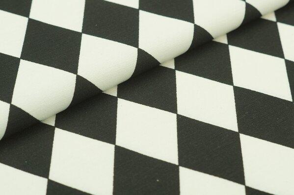 Dekostoff Canvas Rauten Muster schwarz / weiß