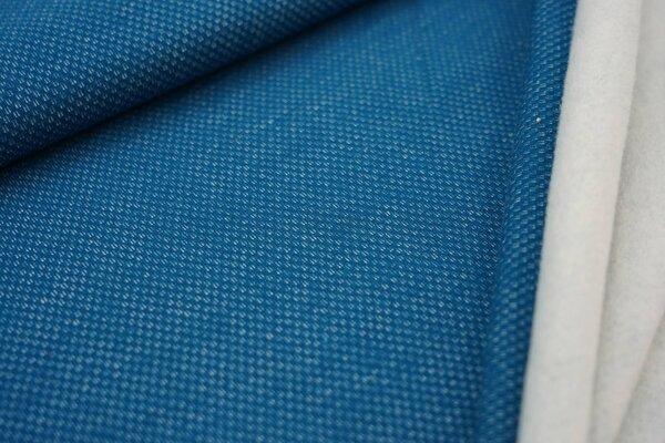 Jacquard-Sweat mit Kästchen-Muster und kuscheliger Innenseite petrol / weiß