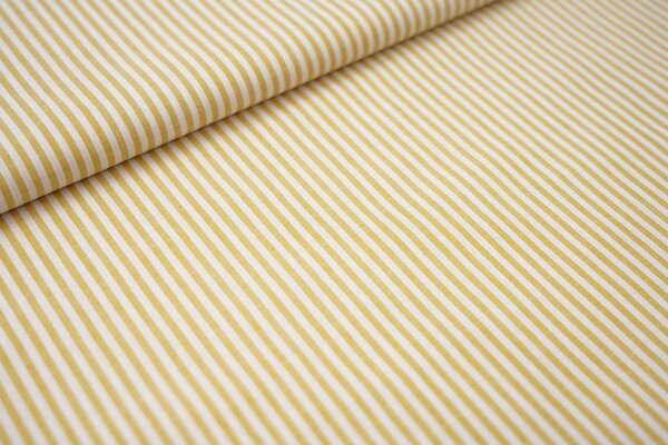 Baumwollstoff Baumwolle Streifen senf / weiß meliert