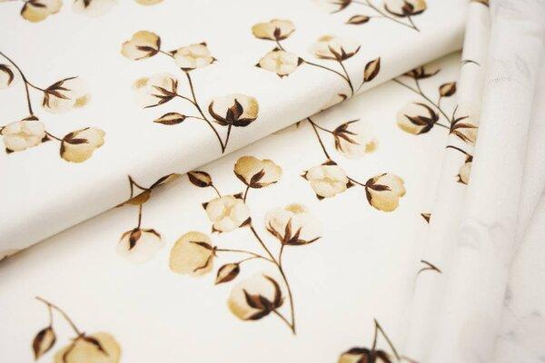 Digitaldruck Baumwoll-Sweat Aquarell Blumen Pflanzen Blätter cremeweiß / braun / beige