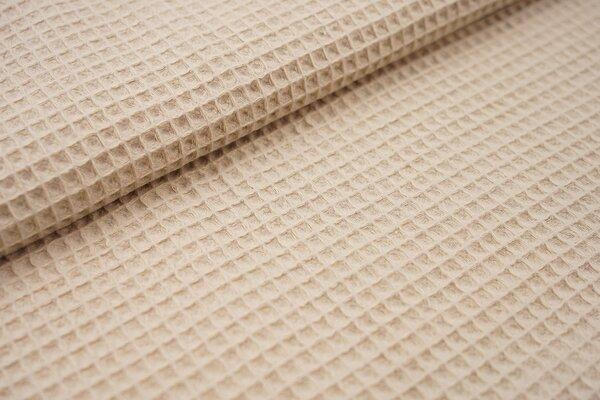 Waffelpiqué Waffelstoff uni beige Baumwollstoff mit Waffelmuster