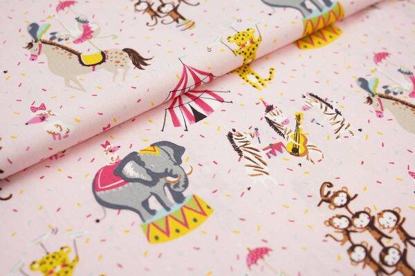 Baumwollstoff Zirkus Tiere Elefant Affen Zebra Gepard Pferd Strauß aus rosa